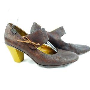 Camper Leather Mary Jane Heels 39 Brown
